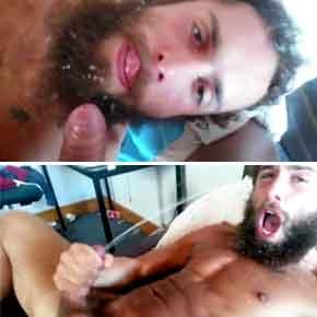 gato barbado levando banho de esperma na cara
