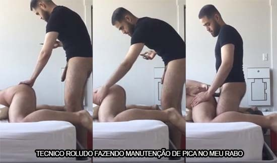 tecnico roludo fazendo manutencao de pica no rabo do cliente gay
