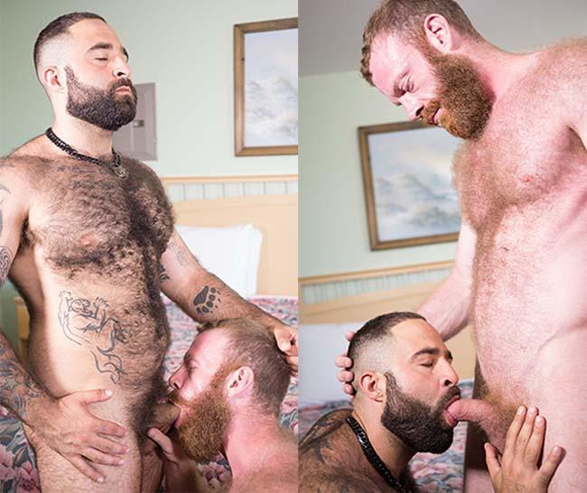 Russel Tyler e Atlas Grant gay blowjob hairy