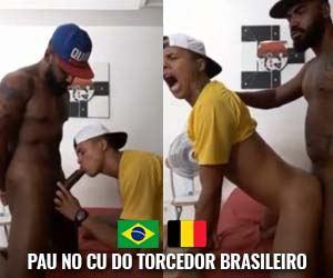 torcedor brasileiro vibra com o cu arrombado pela pica preta