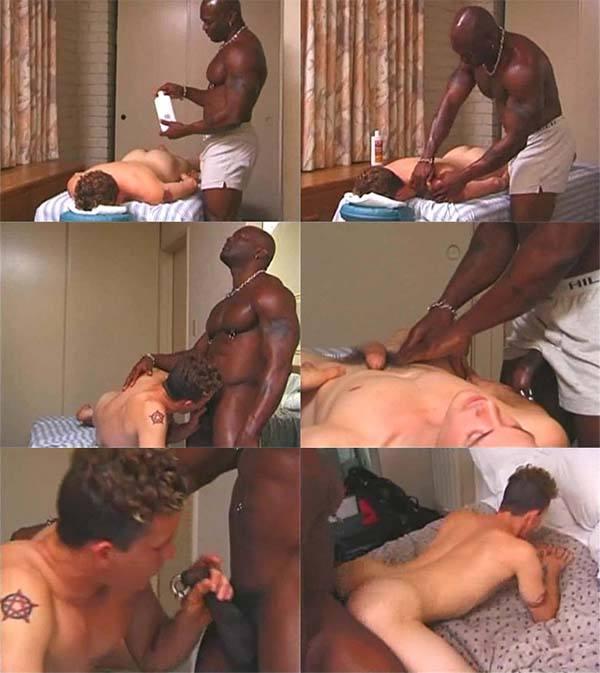 Massagista negro sexo gay cliente bareback